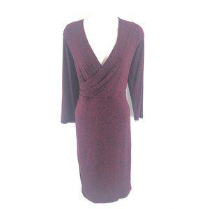 Loft Purple Leaves on Black Faux Wrap Dress L